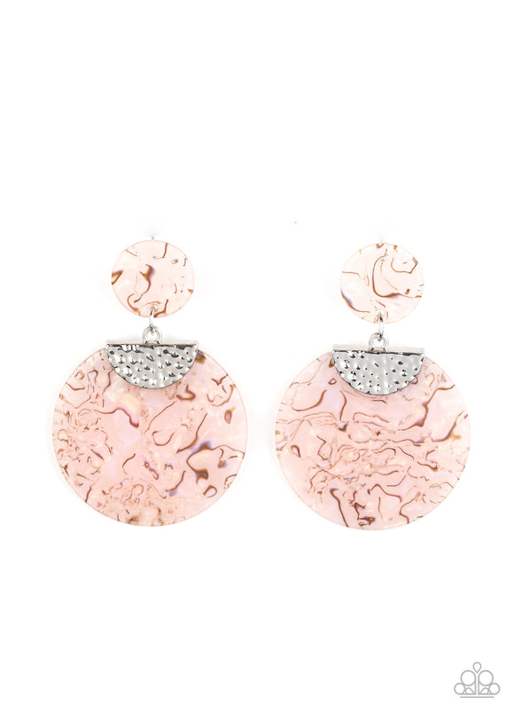 Really Retro-politan Pink Acrylic Earring - Paparazzi Accessories