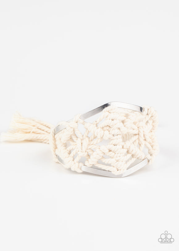 Macrame Mode White Cuff Bracelet - Paparazzi Accessories