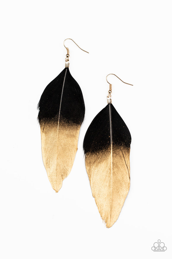Fleek Feathers Black Earring - Paparazzi Accessories