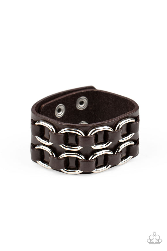 Throttle It Out Brown Urban Wrap Bracelet - Paparazzi Accessories