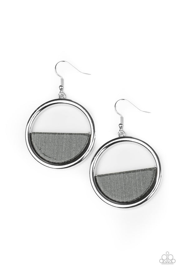 Stuck in Retrograde Silver Earring - Paparazzi Accessories