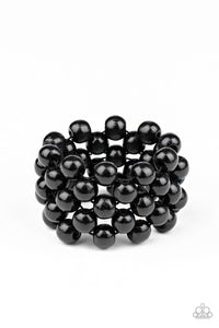 Tiki Tropicana Black Wooden Bracelet - Paparazzi Accessories