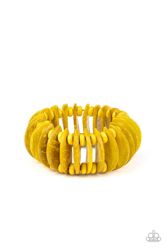 Tropical Tiki Bar Yellow Wooden Bracelet - Paparazzi Accessories