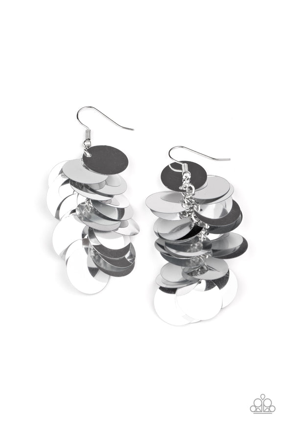 Now You SEQUIN It Silver Earring - Paparazzi Accessories