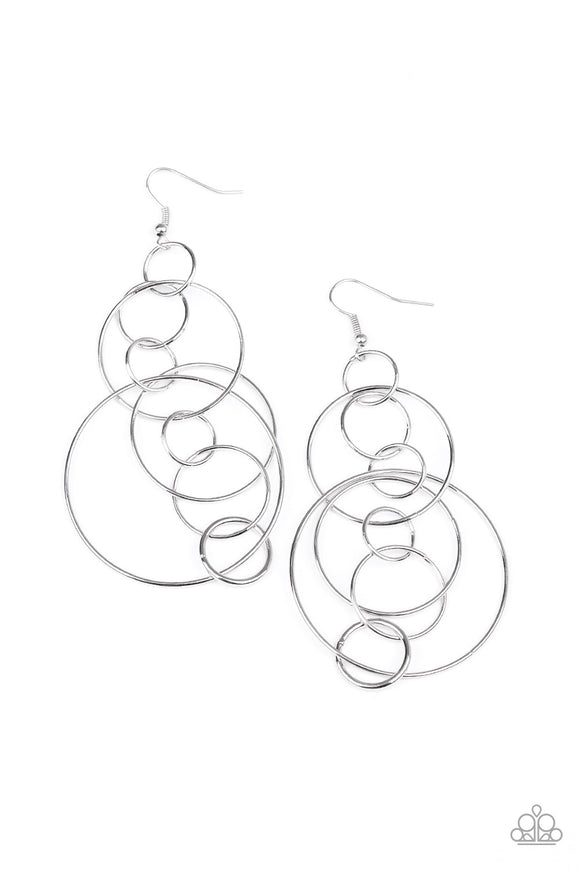 Running Circles Around You Silver Earring - Paparazzi Accessories