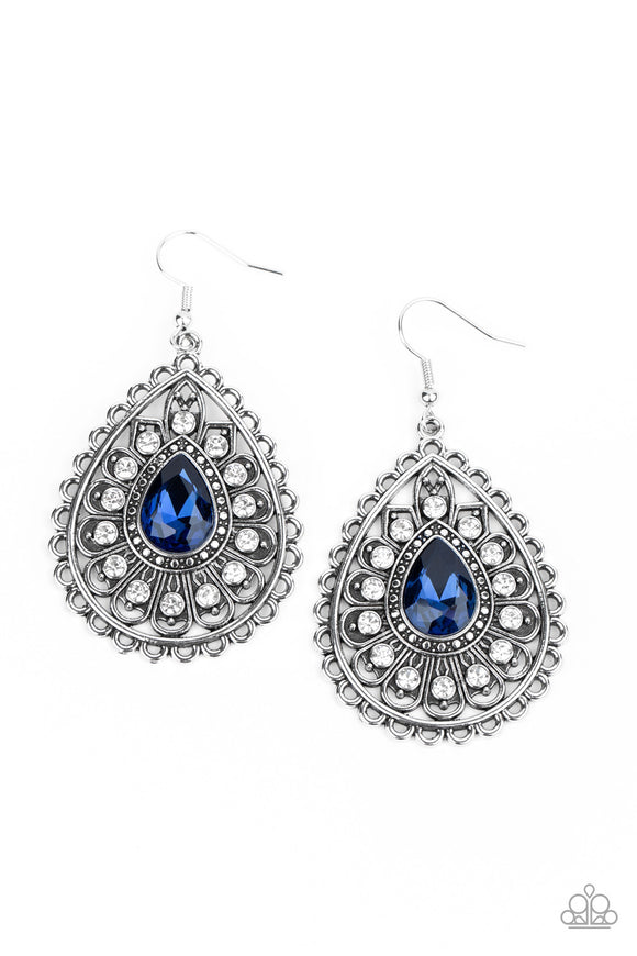 Eat, Drink, and BEAM Merry Blue Earring - Paparazzi Accessories