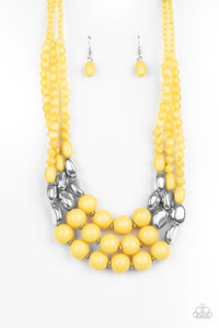Flamingo Flamboyance Yellow Necklace - Paparazzi Accessories