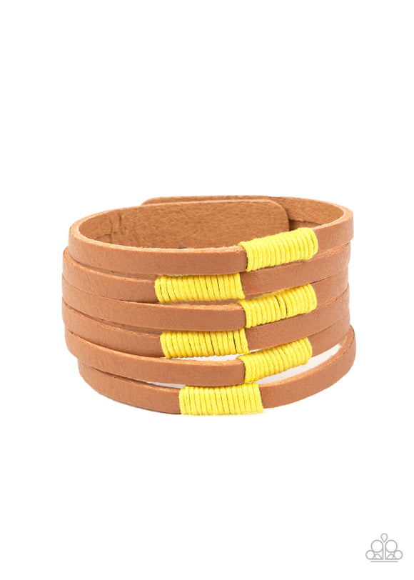 Country Colors Yellow Wrap Bracelet - Paparazzi Accessories