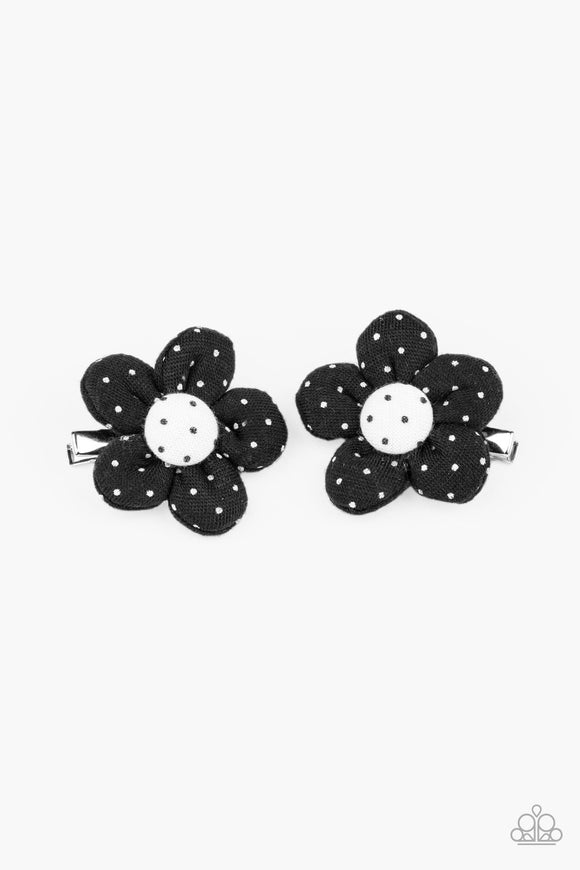 Polka Dotted Delight Black Hair Clip - Paparazzi Accessories