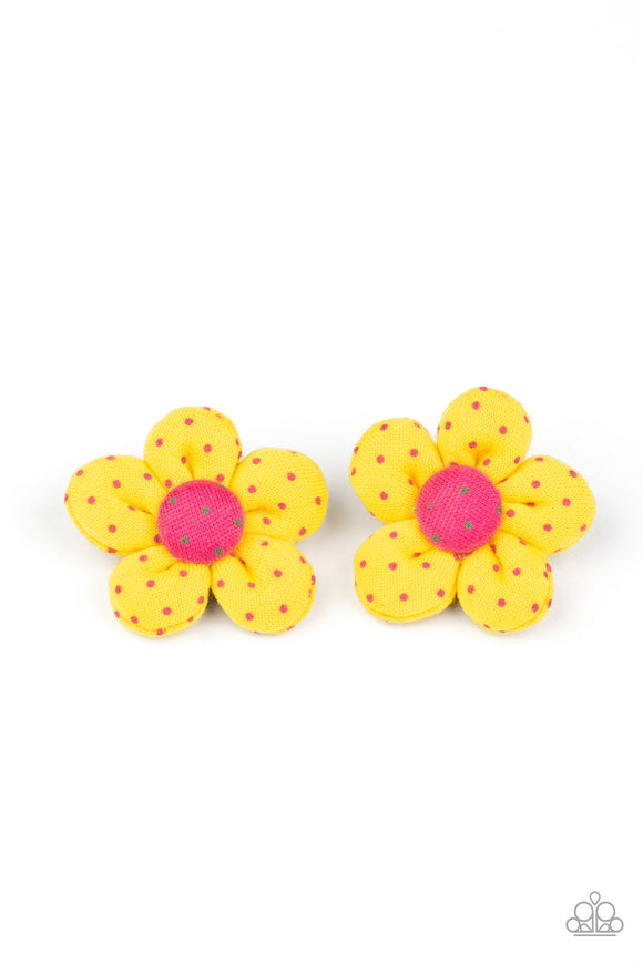 Polka Dotted Delight Yellow Hair Clip - Paparazzi Accessories
