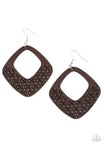 WOOD You Rather Brown Wooden Earring - Paparazzi Accessories