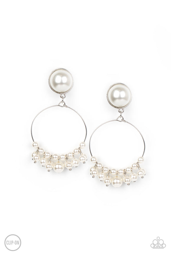 Seize Your Moment White Clip-On Earring - Paparazzi Accessories