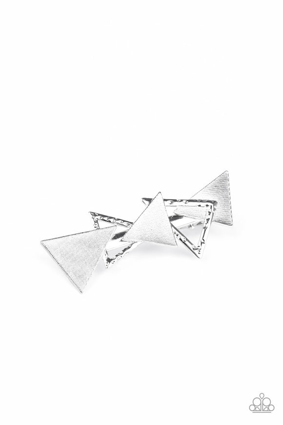 Know All The TRIANGLES Silver Hair Clip - Paparazzi Accessories