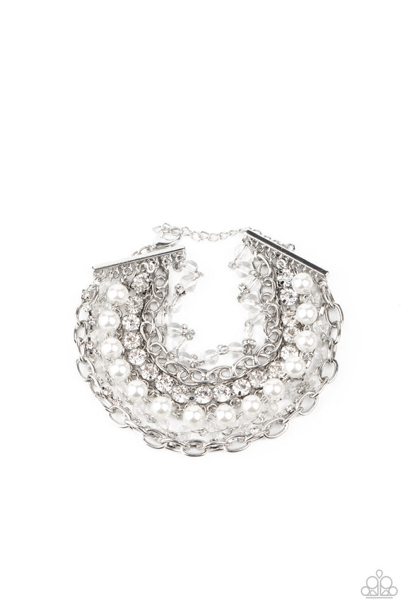 Heiress Hustle White Bracelet - Paparazzi Accessories