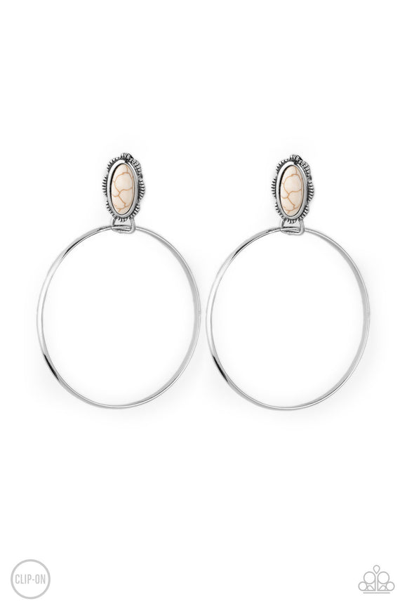 At Long LASSO White Clip-On Earring - Paparazzi Accessories