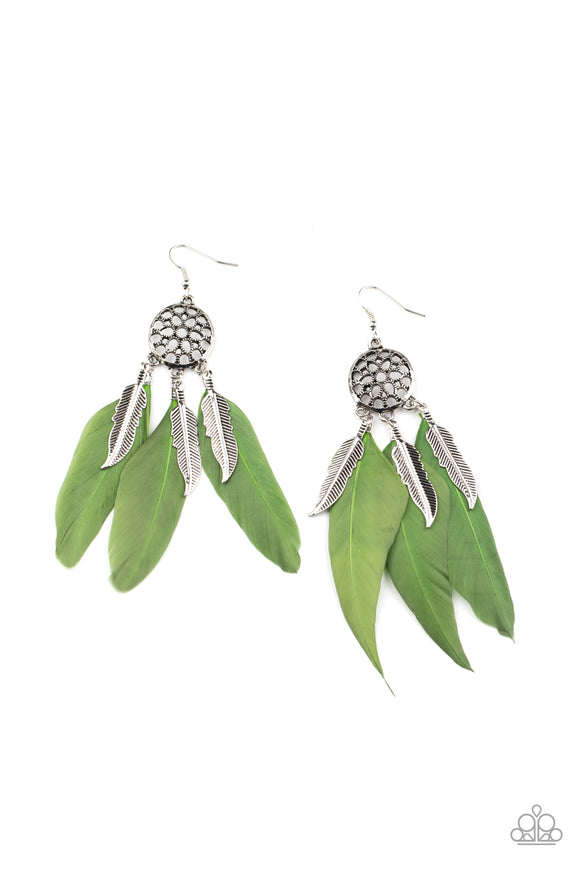 In Your Wildest DREAM-CATCHERS Green Earring - Paparazzi Accessories