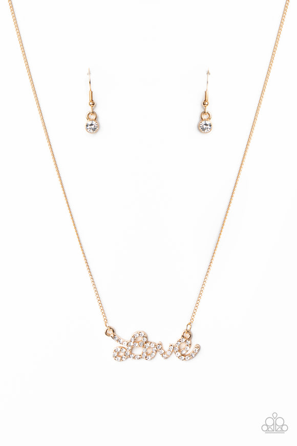 Head Over Heels In Love Gold Necklace - Paparazzi Accessories