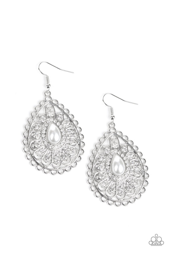 Glamour Grandeur White Earring - Paparazzi Accessories