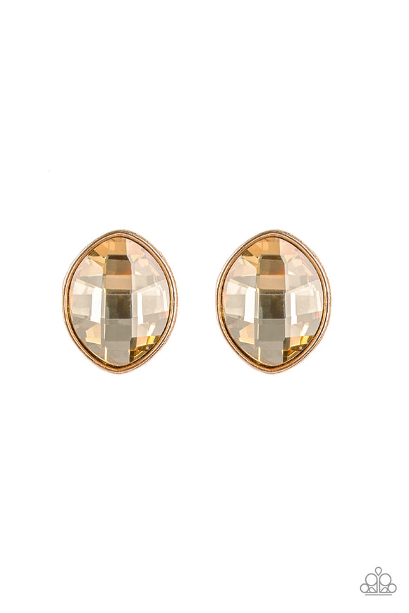 Movie Star Sparkle Gold Post Earring - Paparazzi Accessories - jazzy-jewels-gems