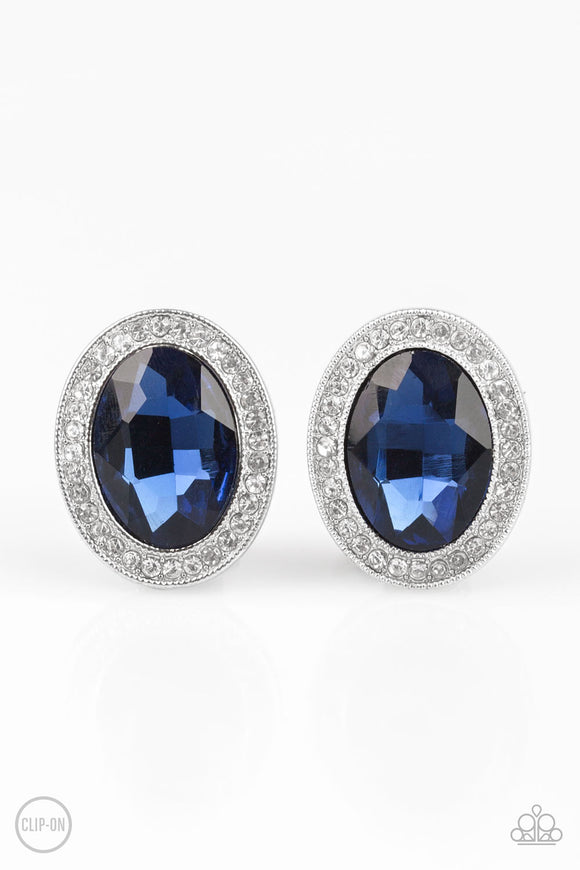 Only FAME In Town Blue Clip-On Earring - Paparazzi Accessories