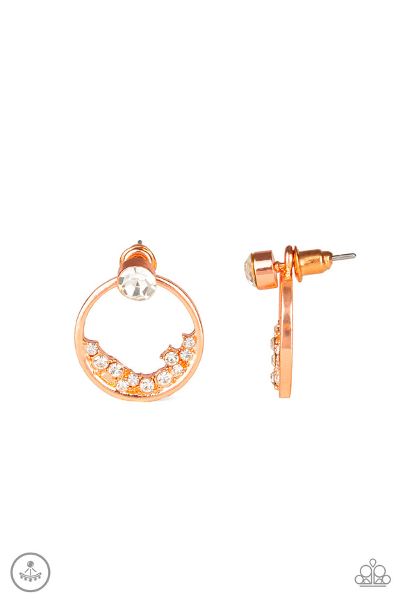 Rich Blitz Copper Jacket Earring - Paparazzi Accessories