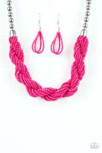 Savannah Surfin Pink Seed Bead Necklace - Paparazzi Accessories