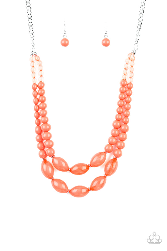 Sundae Shoppe Orange Necklace - Paparazzi Accessories - jazzy-jewels-gems