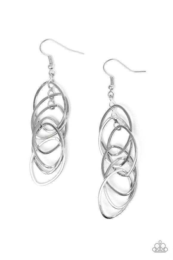 Tangle Tango Silver Earring - Paparazzi Accessories - jazzy-jewels-gems