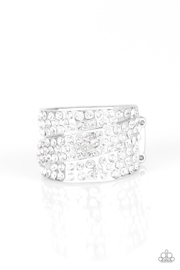 The Millionaires Club White Blockbuster Ring - Paparazzi Accessories