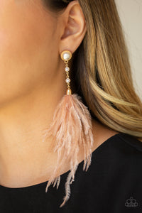 Vegas Vixen Gold Feather Earring - Paparazzi Accessories