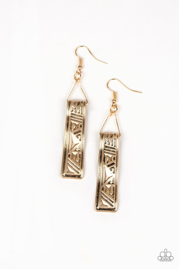 Ancient Artifacts Gold Earring - Paparazzi Accessories