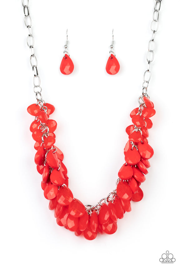 Colorfully Clustered Red Necklace - Paparazzi Accessories
