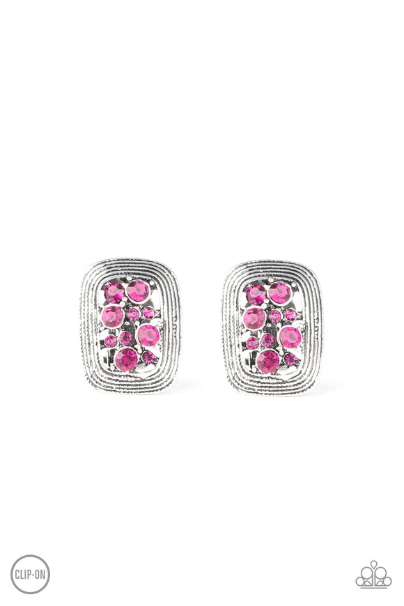 Darling Dazzle Pink Clip-On Earring - Paparazzi Accessories