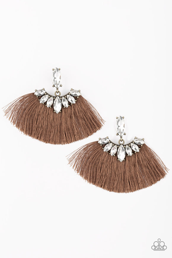 Formal Flair Brown Fringe Earring - Paparazzi Accessories - jazzy-jewels-gems
