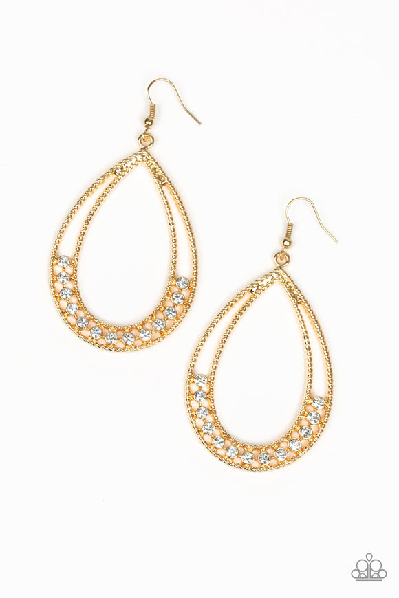 Glitz Fit Gold Earring - Paparazzi Accessories