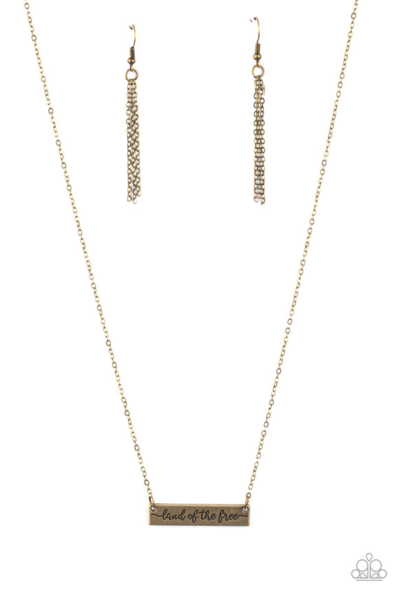 Land Of The Free Brass Necklace - Paparazzi Accessories