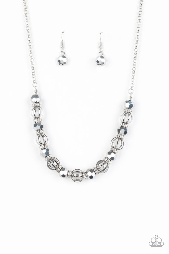 Metro Majestic Silver Necklace - Paparazzi Accessories - jazzy-jewels-gems