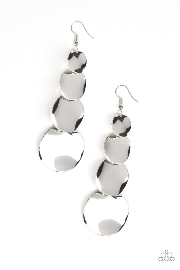Modern Mecca Silver Earring - Paparazzi Accessories - jazzy-jewels-gems