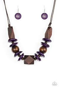 Pacific Paradise Purple Wooden Necklace - Paparazzi Accessories