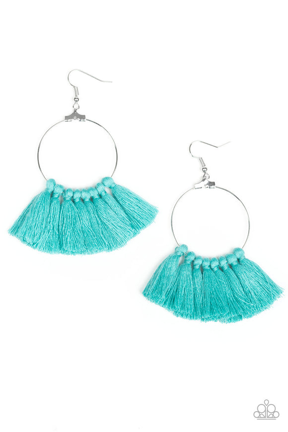 Peruvian Princess Blue Fringe Earring - Paparazzi Accessories - jazzy-jewels-gems