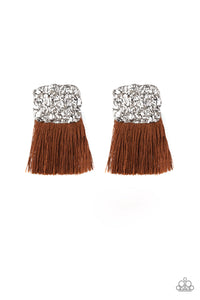 Plume Bloom Brown Fringe Earring - Paparazzi Accessories - jazzy-jewels-gems