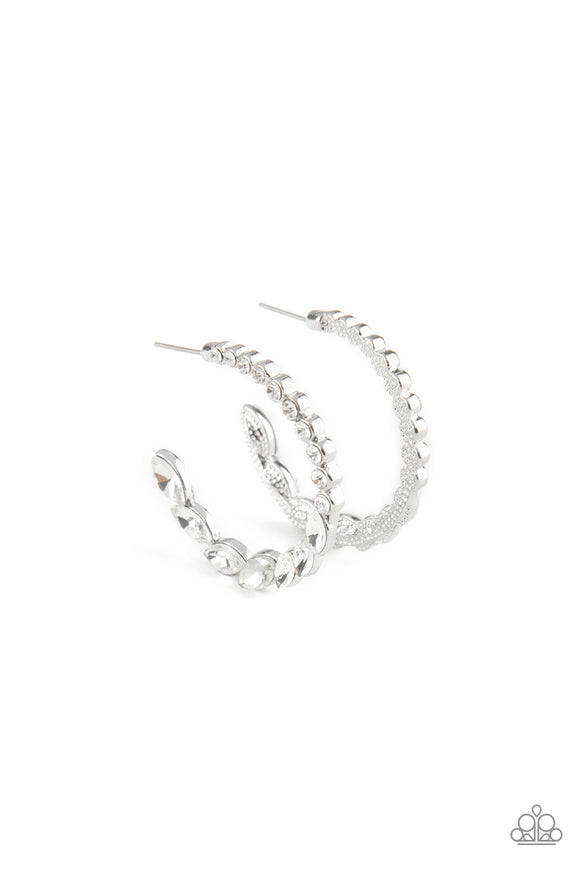 Prime Time Princess White Rhinestone Hoop Earring - Paparazzi Accessories