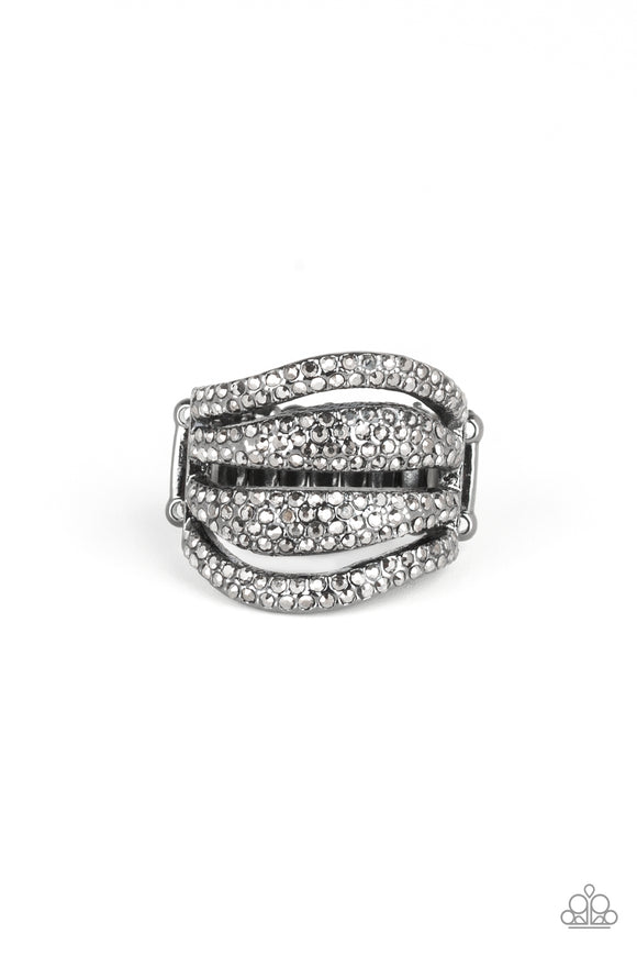 Roll Out The Diamonds Black Ring - Paparazzi Accessories