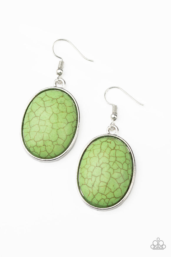 Serenely Sediment Green Earring - Paparazzi Accessories
