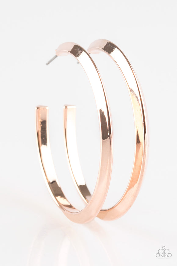 Some Like It HAUTE Rose Gold Hoop Earring - Paparazzi Accessories