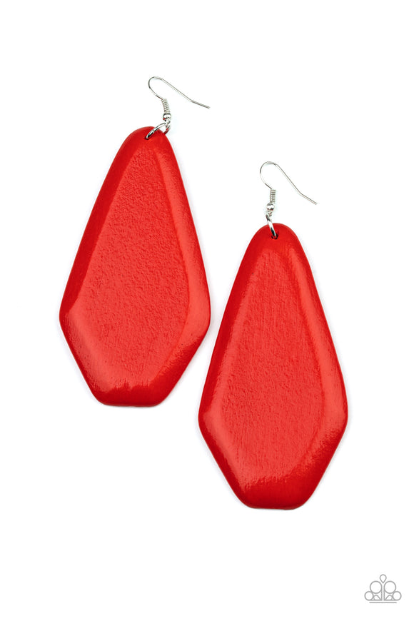 Vacation Ready Red Wooden Earring - Paparazzi Accessories