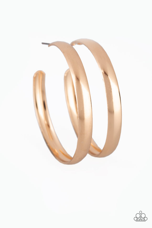 A Double Feature Gold Hoop Earring - Paparazzi Accessories