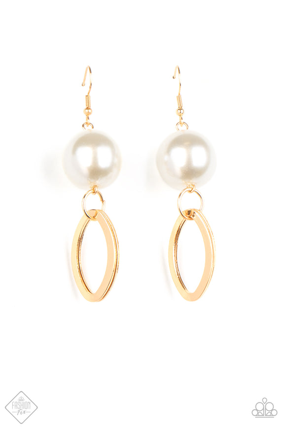 Big Spender Shimmer Gold Earring - Paparazzi Accessories