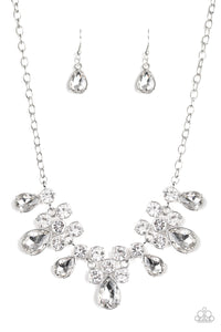 Debutante Drama White Rhinestone Necklace - Paparazzi Accessories