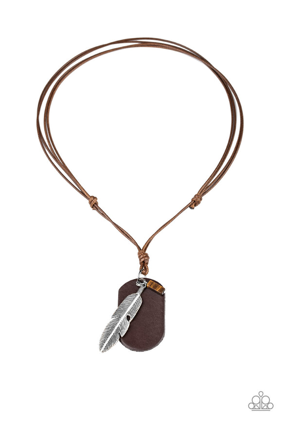 Flying Solo Brown Urban Necklace - Paparazzi Accessories